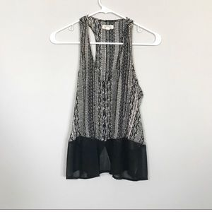 Printed button down tank